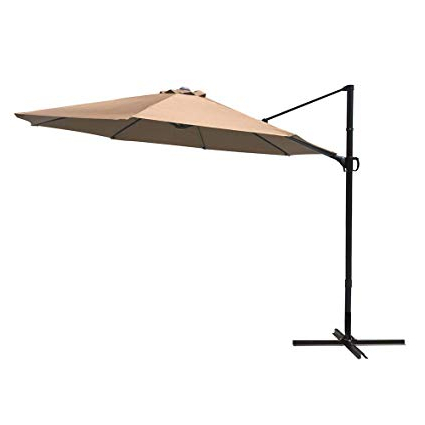 Cobana 10Ft Cantilever Offset Patio Umbrella With Vertical Tilt And 360  Degree Rotation Function, Beige Pertaining To Newest Hurt Market Umbrellas (View 24 of 25)
