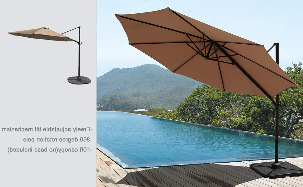 Cockermouth Rotating Cantilever Umbrellas In Recent Cobana 10Ft Cantilever Offset Patio Umbrella With Vertical Tilt And 360 Degree Rotation Function, Beige (View 10 of 25)