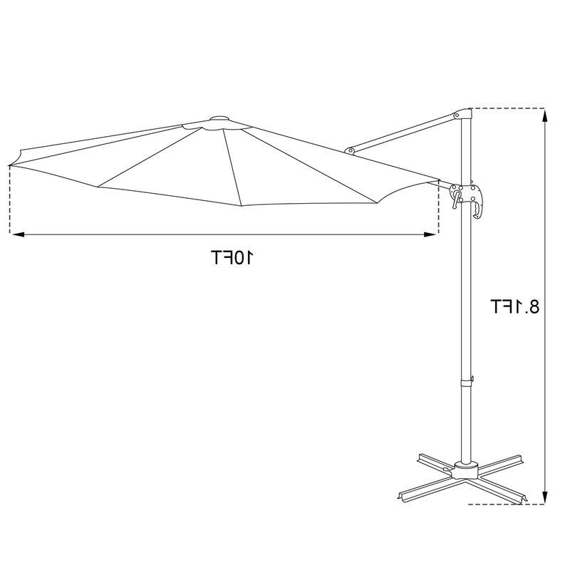 Cockermouth Rotating Cantilever Umbrellas Regarding 2018 Cockermouth Rotating 10' Cantilever Umbrella (View 8 of 25)