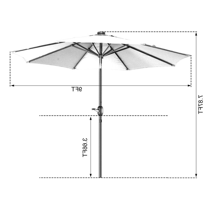 Coggeshall Led Lighted 9' Market Umbrella Throughout Well Known Coggeshall Led Lighted Market Umbrellas (View 4 of 25)