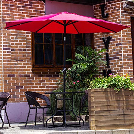 Coggeshall Led Lighted Market Umbrellas With Most Recently Released Tourke 9Ft Led Lighted Patio Market Umbrella Outdoor Solar Powered Table  Steel Umbrella With Tilt And Crank, Wine (View 16 of 25)