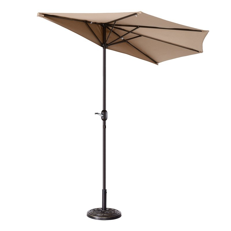 Colburn Half 9' Market Umbrella Pertaining To Most Popular Alder Half Round Outdoor Patio Market Umbrellas (View 12 of 25)