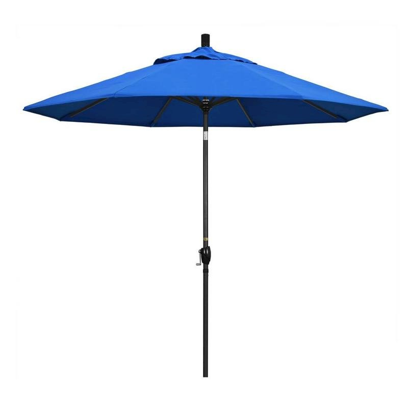 Current 9' Pacific Trail Series Patio Umbrella With Stone Black Aluminum Pole Aluminum Ribs Push Button Tilt Crank Lift With Olefin Royal Blue Fabric Throughout Bayside Series Cantilever Umbrellas (View 14 of 25)