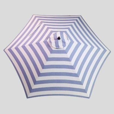 Current 9' Round Cabana Stripe Patio Umbrella Navy – Light Wood Pole With Regard To Darwen Tiltable Patio Stripe Market Umbrellas (View 3 of 25)