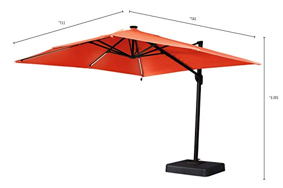 Current Ashley Furniture Signature Design – Oakengrove Outdoor Patio Umbrella –  Modern Style – Hand Crank With Vented Canopy – Rectangular – Coral Intended For Cora Square Cantilever Umbrellas (View 6 of 25)