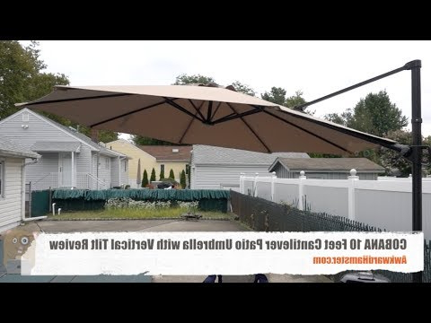 Current Cobana 10 Feet Cantilever Patio Umbrella With Vertical Tilt Review With Regard To Freda Cantilever Umbrellas (View 21 of 25)