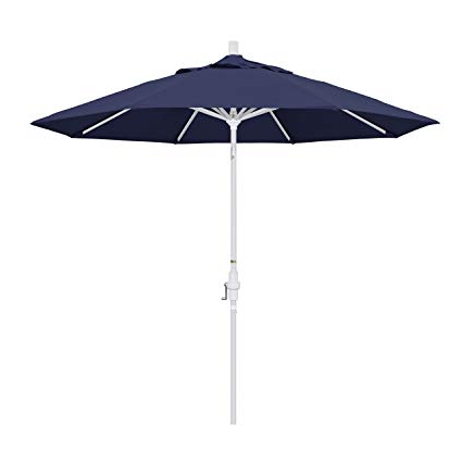 Current Market Umbrellas Regarding California Umbrella 9' Round Aluminum Market Umbrella, Crank Lift, Collar Tilt, White Pole, Navy Blue Olefin (View 14 of 25)