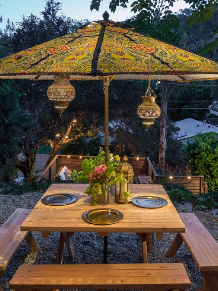Custom Bohemian Style Outdoor Patio Umbrella Supported For Outdoor Pertaining To Well Liked Voss Cantilever Sunbrella Umbrellas (View 5 of 25)