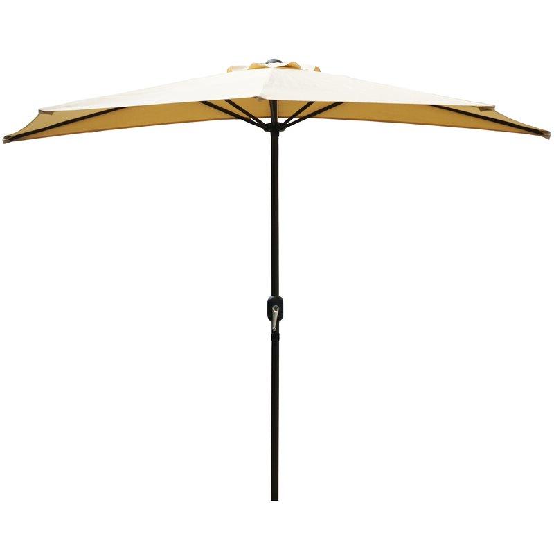 Dade City North Half Market Umbrellas in Latest Alder 9' Half Round Outdoor Patio Market Umbrella