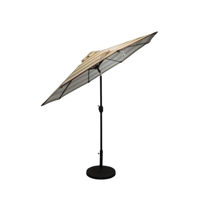 Darwen Tiltable Patio Stripe Market Umbrellas Within Fashionable Haskell Striped Patio 9' Market Umbrella (View 8 of 25)