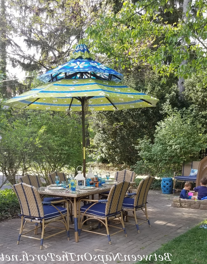 """Deck """"Before And After"""" With """"Lodge Brown"""" Solid Stain For The Deck In Best And Newest Hettie Solar Lighted Market Umbrellas (View 16 of 25)"""