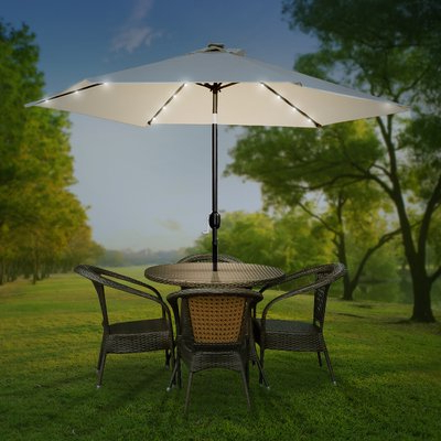 Delaplaine Market Umbrellas In Best And Newest Ivy Bronx Charlize Illuminated 10' Lighted Umbrella (View 11 of 25)