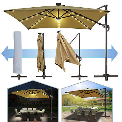 Deluxe 10'x10' Roma Square Solar Led Cantilever Patio Umbrella Sunbrella  Canopy (View 9 of 25)