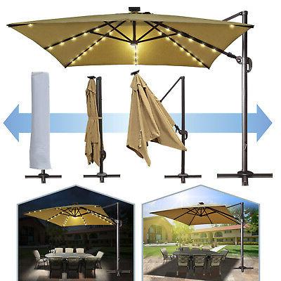 Deluxe 10'x10' Roma Square Solar Led Cantilever Patio Umbrella Sunbrella  Canopy (Gallery 9 of 25)
