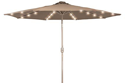 Deluxe Solar Powered Led Lighted Patio Umbrella – 9' With Champagned Color  Frame  Trademark Innovations (Tan) For Well Known Solar Powered Led Patio Umbrellas (Gallery 1 of 25)