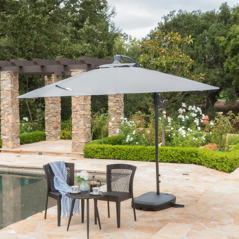 Desirat 9.5' Square Cantilever Umbrella inside 2018 Bondi Square Cantilever Umbrellas