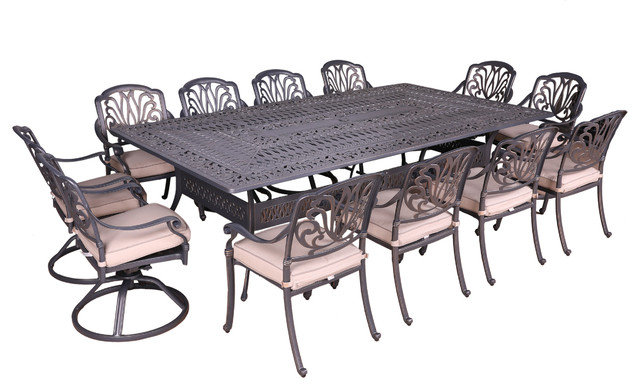 Desmond  Rectangular Cantilever Umbrellas Throughout Well Liked Athens 13 Piece Cushioned Dining Set, 60''x108'' Rectangle Table (Gallery 24 of 25)