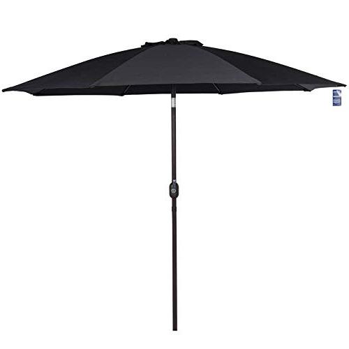 Destination Gear Square Market Umbrellas Pertaining To Famous Black Patio Umbrellas: Amazon (Gallery 9 of 25)
