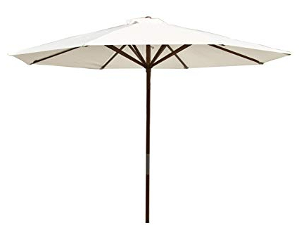 Destination Gear Square Market Umbrellas throughout Fashionable Heininger 1289 Destinationgear Classic Wood Natural 9' Market Umbrella