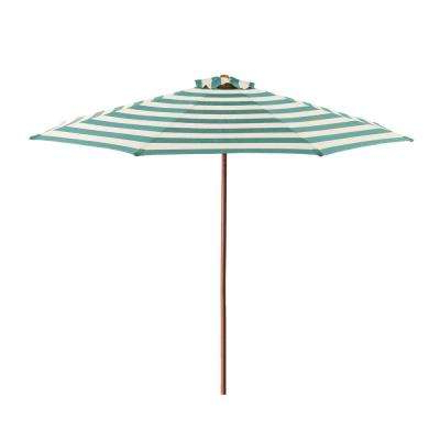 Destination Gear Square Market Umbrellas With Regard To Most Popular 9 Ft. Wood Market Patio Umbrella In Soft Teal And Ivory Stripe Solution  Dyed Polyester (Gallery 2 of 25)