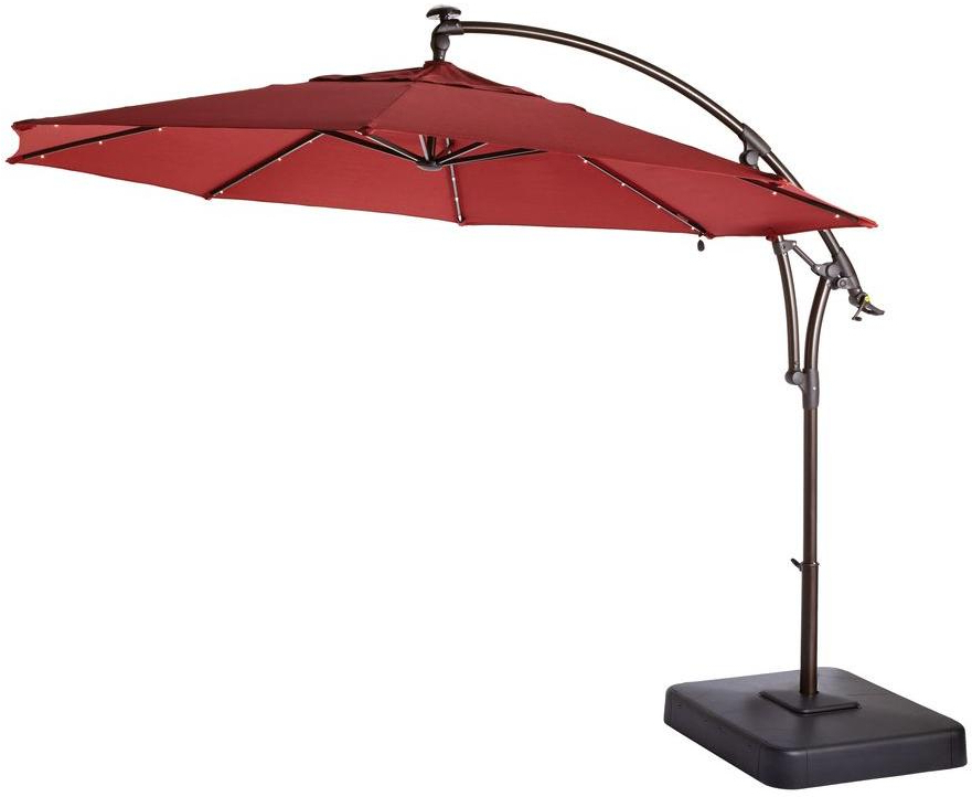 Details About Hampton Bay Offset Patio Umbrella 11 Ft. Solar Powered Led  Light Brown Chili Red Regarding Most Recent Solar Powered Led Patio Umbrellas (Gallery 21 of 25)