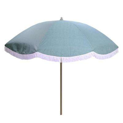 Devansh Market Umbrellas Intended For Latest 8 Ft. Aluminum Drape Tilt Patio Umbrella In Spa With Fringe (Gallery 23 of 25)