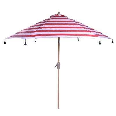 Devansh Market Umbrellas Throughout Fashionable 9 Ft. Aluminum Drape Patio Umbrella With Tassels In Red Cabana Stripe (Gallery 9 of 25)
