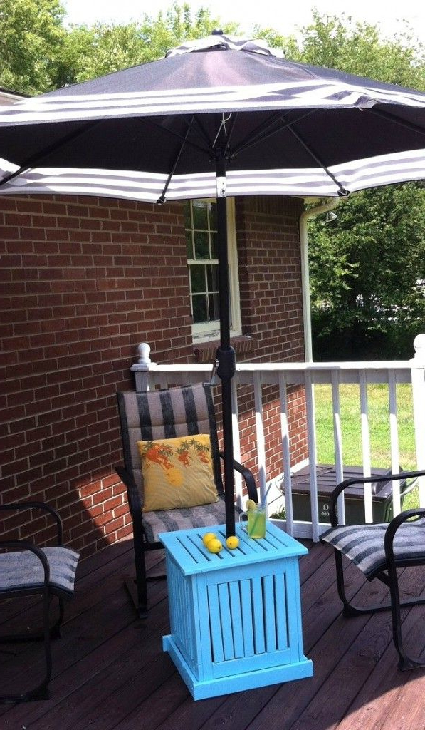 Diy Patio Umbrella Stand/side Table (View 3 of 25)
