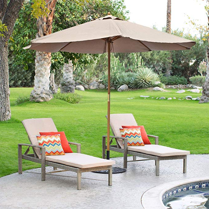 Docia Market Umbrellas for 2018 9' Red Patio Umbrella - Outdoor Wooden Market Umbrella Product Sku: Ub58023