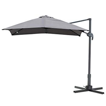 Dore Patio Cantilever Umbrellas With Latest Outsunny 8'x8' Square Patio Hanging Offset Umbrella Outdoor Cantilever  Crank Market Parasol Garden Sun Canopy Shelter 360° Rotation W/cross Base  Grey (View 10 of 25)