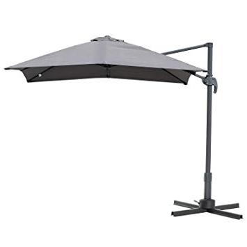 Dore Patio Cantilever Umbrellas with Latest Outsunny 8'x8' Square Patio Hanging Offset Umbrella Outdoor Cantilever  Crank Market Parasol Garden Sun Canopy Shelter 360° Rotation W/cross Base  Grey