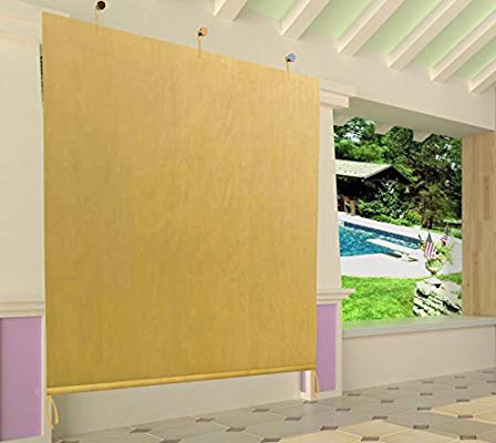 Easy2Hang Ez2Hang Outdoor Shade Cloth Vertical Side Wall Panel For  Patio/pergola/window 6X6Ft Wheat regarding Most Recent Herlinda Solar Lighted Market Umbrellas