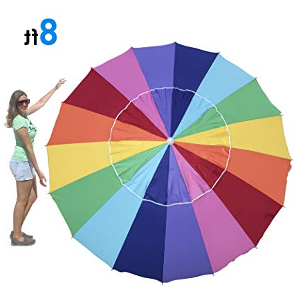 Easygo Rainbow Beach Umbrella – Portable Wind Beach Umbrella – Folding  Beach Umbrella Set With Screw Anchor And Carrying Bag (Rainbow 8Ft) Inside Fashionable Leasure Fiberglass Portable Beach Umbrellas (View 12 of 25)