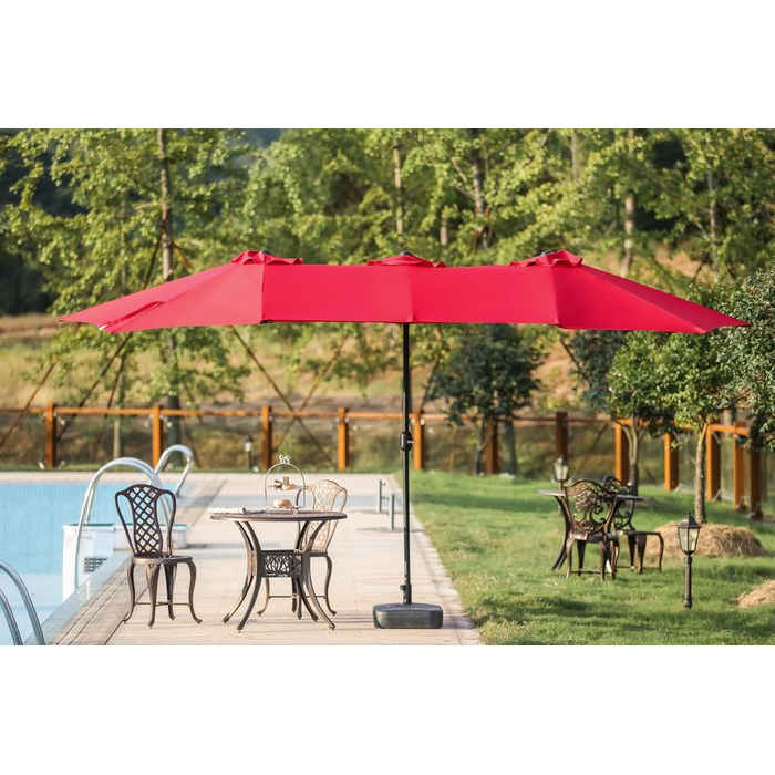 Eisele 9' W X 15' D Rectangular Market Umbrella In Most Current Solid Rectangular Market Umbrellas (Gallery 3 of 25)