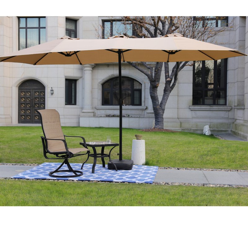 Eisele 9' W X 15' D Rectangular Market Umbrella with Favorite Zadie Twin Rectangular Market Umbrellas