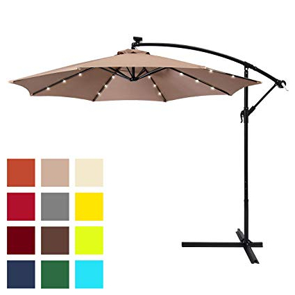Elaina Cantilever Umbrellas Pertaining To Favorite Best Choice Products 10Ft Solar Led Offset Patio Umbrella W/easy Tilt  Adjustment – Tan (View 6 of 25)