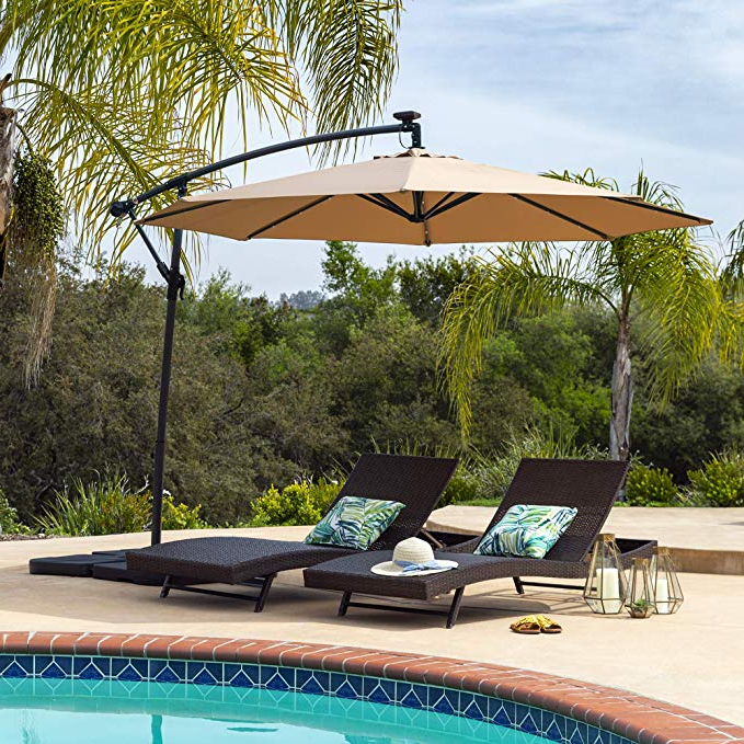 Elaina Cantilever Umbrellas With Famous Best Choice Products 10Ft Solar Led Offset Patio Umbrella W/easy Tilt  Adjustment – Tan (View 14 of 25)