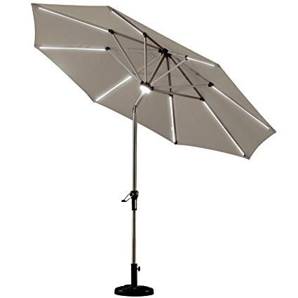 Emely Cantilever Sunbrella Umbrellas In Preferred Purple Leaf 9 Feet Solar Powered Led Lighted Patio Umbrella With Push  Button Tilt And Crank Outdoor Market Umbrella Garden Umbrella, Khaki (View 13 of 25)