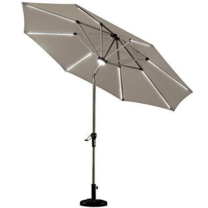 Emely Cantilever Sunbrella Umbrellas In Preferred Purple Leaf 9 Feet Solar Powered Led Lighted Patio Umbrella With Push  Button Tilt And Crank Outdoor Market Umbrella Garden Umbrella, Khaki (Gallery 13 of 25)