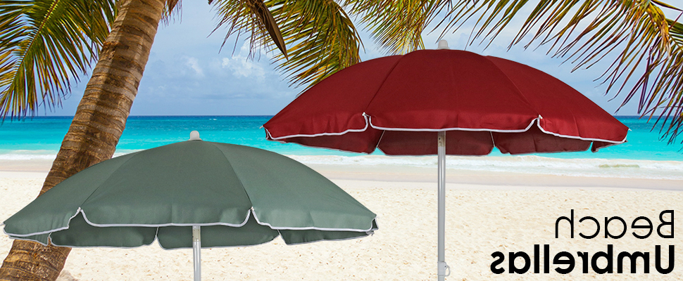 Famous Amazon : Sunnydaze 5 Foot Outdoor Beach Umbrella With Tilt Pertaining To Kerner Steel Beach Umbrellas (View 7 of 25)