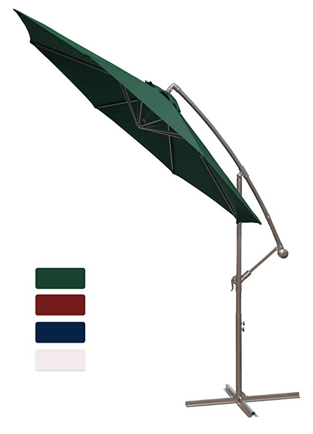 Famous Anna Cantilever Umbrellas Throughout Hasle Outfitters Offset Patio Umbrella 10Ft Cantilever Umbrella Outdoor  Market Umbrella Hanging Umbrella With Cross Base Dark Green (View 9 of 25)