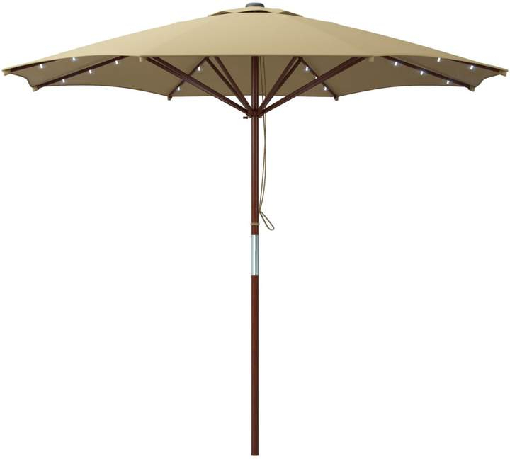 Famous Cannock Market Umbrellas In Corliving Solar Powered Led Lights Patio Umbrella (View 13 of 25)