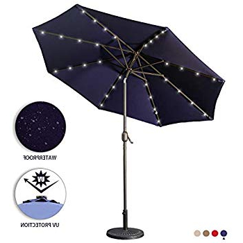 Famous Coggeshall Led Lighted Market Umbrellas Regarding Amazon : Tropishade Tropilight Led Lighted 9 Ft Bronze Aluminum (View 14 of 25)