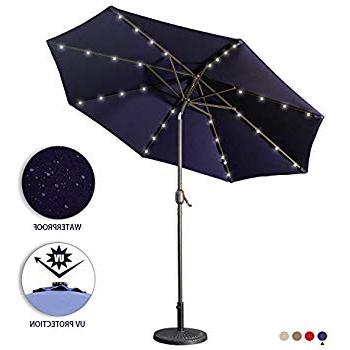 Famous Coggeshall Led Lighted Market Umbrellas Regarding Amazon : Tropishade Tropilight Led Lighted 9 Ft Bronze Aluminum (View 15 of 25)