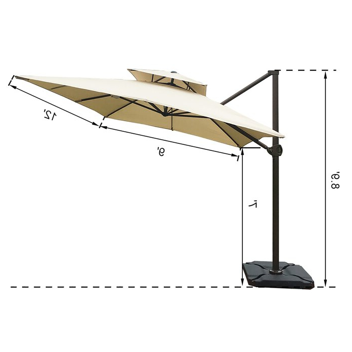 Famous Fazeley 9' X 12' Rectangular Cantilever Umbrella Pertaining To Fazeley  Rectangular Cantilever Umbrellas (View 3 of 25)