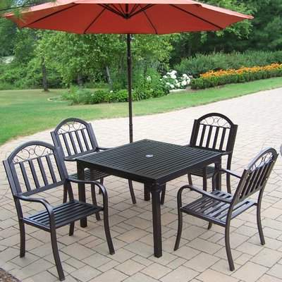 Famous Maglione Fabric Cantilever Umbrellas Within Red Barrel Studio Lisabeth Traditional 5 Piece Dining Set Red Barrel Studio (View 3 of 25)
