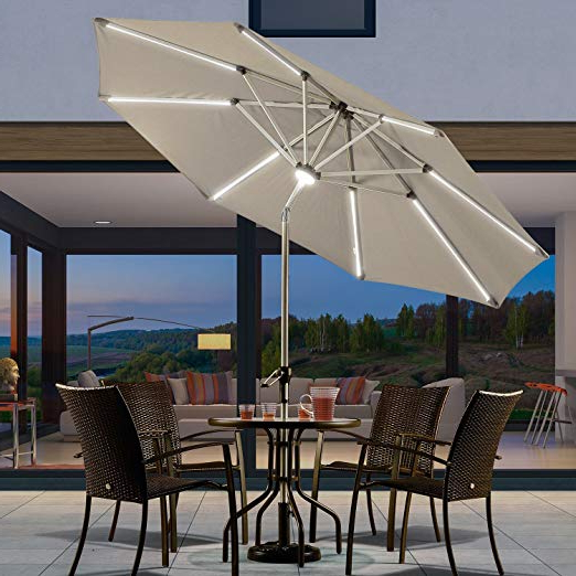 Famous Purple Leaf 9 Feet Solar Powered Led Lighted Patio Umbrella With Push  Button Tilt And Crank Outdoor Market Umbrella Garden Umbrella, Khaki Pertaining To Emely Cantilever Sunbrella Umbrellas (View 16 of 25)