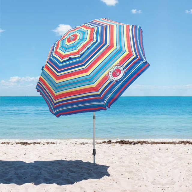 Famous Tommy Bahama Sand Anchor 7 Ft Beach Umbrella Tilt Outdoor Sun Cover Shade  Blue In Tilt Beach Umbrellas (View 15 of 25)