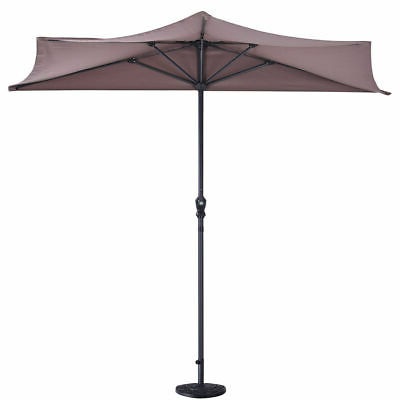 "Fashionable 9Ft Half Round Umbrella With 20"" Outdoor Patio Half Round Umbrella Base  Stand  (View 4 of 25)"
