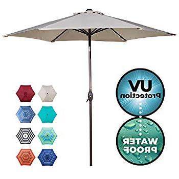 Fashionable Amazon : Le Papillon 9 Ft Outdoor Patio Umbrella Aluminum Table Inside Sittard Market Umbrellas (View 5 of 25)